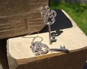Disney Mickey Mouse Earrings Hidden Mickey Key Design Silver Scrollwork