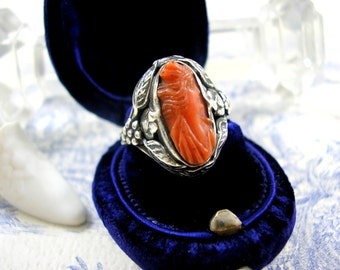 Antique Arts and Crafts Silver Ring with Coral Cameo Edwardian c1910