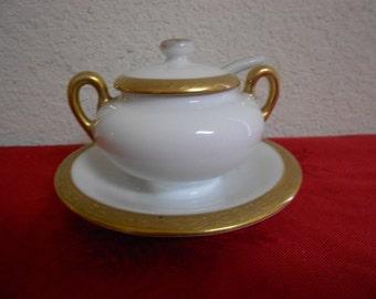 Royal Bayreuth Hand Etched Gold Gild Sugar Bowl / 1930s / Bavaria / Gorgeous