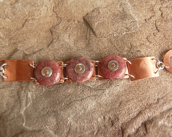 Heavy Copper Silver Link Bracelet with Riveted Rhodonite Stones