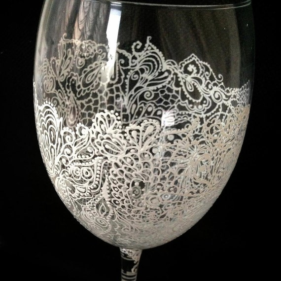 Personalized Hand Painted Wine Glass goblet Flute by AlenaShop