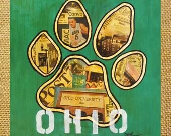 OHIO UNIVERSITY PAW Print Athens Ohio  - 12x12  Poster Print