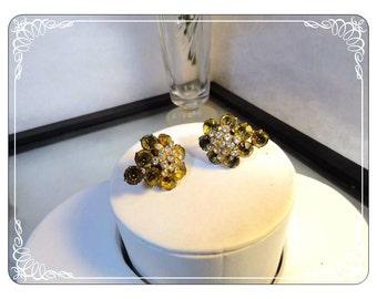 Golden Citrine Screwback Rhinestone Vintage Earrings  -  E508a-063013000