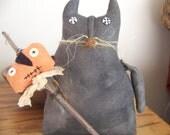 Primitive Black Cat Shelf Sitter/Doll With Pumpkin Stick