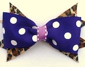 purple polka dot and animal print hair bow- back to school-one of a kind accessories