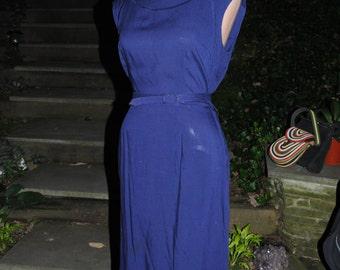 40's Tailored Blue Cotton Dress   WWII  Movie Dress Medium