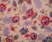 Blue, Pink, Rose, Country White Ground Cotton Fabric Yardage, Coordinate, Quilt, Country Decor, Curtain, Pillow