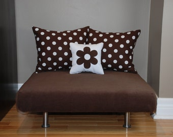 "24""x24"" Brown Upholstered Pet Bed / Cat Bed / Small Dog Bed /// Pet Lounger with Brown/White Polka Dot Pillows"
