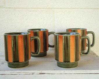 Mid Century MOD Orange & Green STRIPED MUGS- Set of 4 Retro Coffee Cups, Vintage Serving