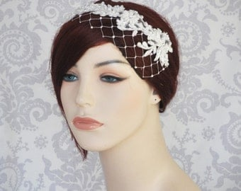 Lace Bridal Headband with Birdcage Veil, Bridal Headpiece, Flower Wreath, Merry Widow, Beaded Lace Pearls, White or Ivory - 100BC
