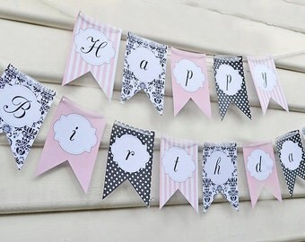 Glamour Girl Paris Party Banner -  INSTANT DOWNLOAD