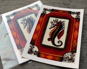 Seahorse Print chain Giclee Watercolor painting Tattoo Flash Art Original