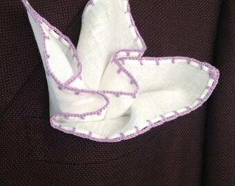 Handmade Linen Pocket Square Lavender