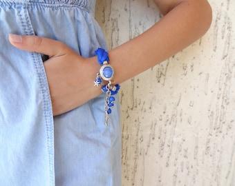 Cobalt Blue Turkish Silk Bracelet-Blue Pendant Bracelet-Silver Plated Bracelet