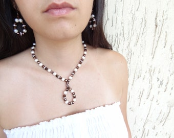 Wedding Necklace and Earring Set, Pearl and Brown Czech Crystal Necklace and Earring Set,  Bridal Necklace, OOAK Feminine Handmade