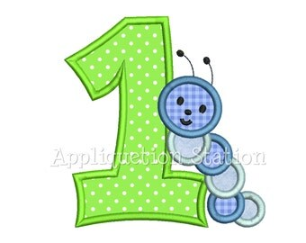Number one Caterpillar Wiggly Worm Birthday Number Applique Hungry Machine Embroidery Design Download 1st 1 first INSTANT DOWNLOAD