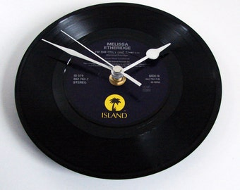 "Melissa Etheridge CLOCK made from a recycled vinyl 7"" record. For fans country music men women ooak listing"