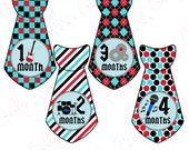 Boy Monthly Baby Stickers, 1 to 12 Months, Monthly Bodysuit Stickers, Baby Age Stickers, Rock N' Roll Ties  (063-3T)
