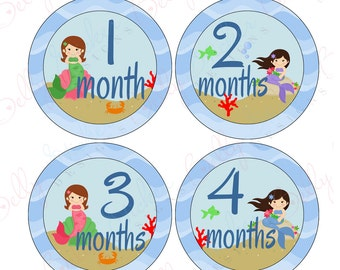 Girl Monthly Baby Stickers, 1 to 12 Months, Monthly Bodysuit Stickers, Baby Age Stickers, Mermaids  (058-2)