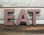 Vintage EAT Sign -- Painted Aluminum Kitchen Sign