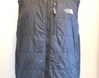 "vintage, NORTH FACE ""black label"" black sleeveless, full zip vest in mens size medium"