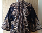 Men's Indonesian Batik shirt in black and brown