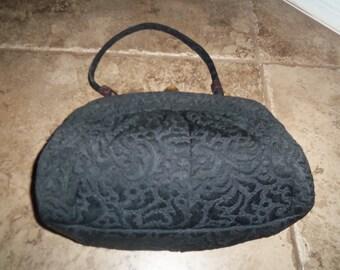 Vintage LEWIS CROWN Tapestry Handbag Purse Bag clutch c 1950s 1960s