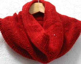Crochet cowl red mohair with sequins