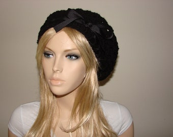 Black Slouchy Beanie, Crochet Beret, Slouchy Hat with black ribbon bow, Oversized Hat Knit School Girl Beret, Woman Fashion Accessory