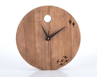 Wooden Clock unique Handmade - FREE shipping // The bird has left the clock // Modern home decor // housewarming gift //