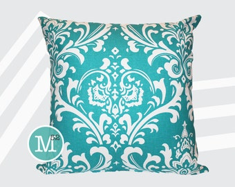 Turquoise Damask Pillow Cover - 20 x 20 and More Sizes - Zipper Closure