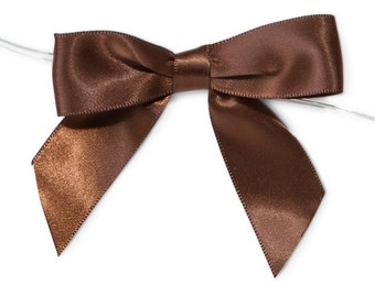 "Brown 3"" Pre-Tied Satin Bows with 5"" Twist Ties~ 7/8"" ribbon- Pack of 6"