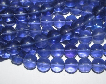 Blue Violet Glass Beads - 30 Beads - 10mm (004)