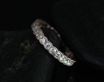 Rosados Box DIAMOND FREE Cordelia 14kt Rose Gold Curvy Moissanite Single Row Milgrain FULL Eternity Band