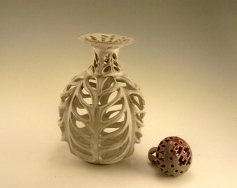 Angel's  Share -  The last drop - carved stoneware  luminary