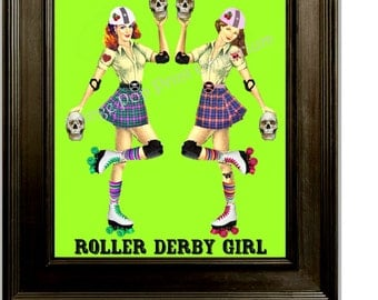 Roller Derby Art Print 8 x 10 - Heads Are Gonna Roll - Roller Skating - Derby Girl - Pin Up Retro