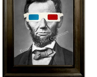 Abraham Lincoln 3D Glasses Art Print 8 x 10 - Pop Surrealism - Lowbrow - Altered Art - President