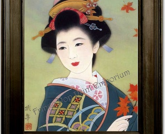 Japanese Geisha Art Print 8 x 10 - Woman With Leaves - Asian Woman - Fine Art