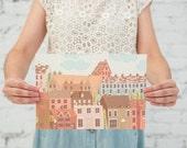 "Art Print - Illustration Print 11.7"" x 8.3"" - Dublin Houses- Nursery Art"