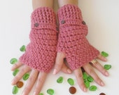 Rose Pink Fingerless Gloves With Buttons,Crochet Pattern, Hand Arm Warmers,Winter Accessories, Fall Fashion,Mittens