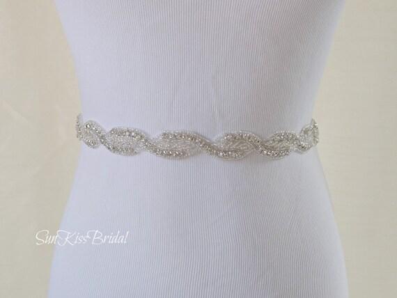 GRACE Crystal Bridal Sash,Beaded Rhinestone Sash,Wedding Gown Belt