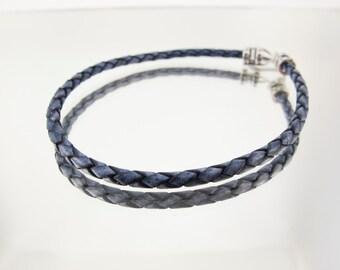 Bolo Braided Leather Bracelet Antique Blue #660