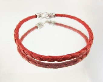 Bolo Braided Leather Bracelet Red 10pk  #610