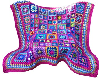 Crochet afghan kaleidoscope granny square, grapefruit red border, 58 inches, MADE TO ORDER