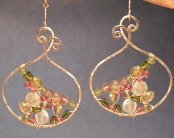 Hammered swirl hoops peridot, prehnite, and tourmaline Luxe Bijoux 203