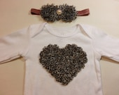 Valentine's Day Set!  Leopard Print Chiffon Rose Heart on a White Long Sleeved Onesie with Matching Headband, Newborn to 24 Months