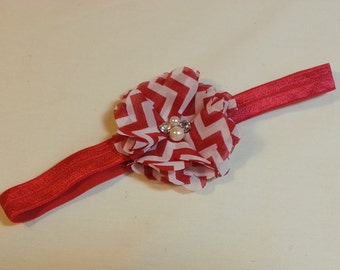 Christmas Headband, Red and White Flower with Rhinestone/Pearl Embellishments on a Headband with Rhinestone Embellishment , Infant to Adult