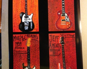 16x24 Pearl Jam guitar poster. 4 of the Pearl Jam guitars.
