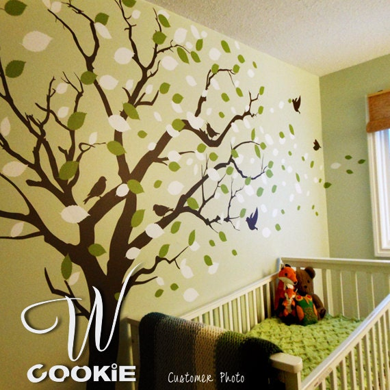 Wall decal, Tree with blowing leaves  - Nursery Wall Decal