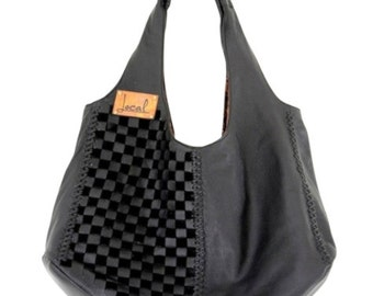 BAHA. Black leather tote bag / leather shoulder bag / leather purse / black leather bag / black tote. Available in different leather colors.